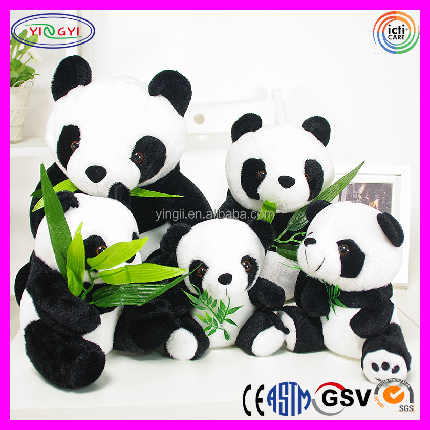 D132 Cute Natural Panda Family Stuffed Animal Plush Panda with Accessories