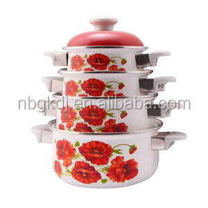 enamel granite cooking pots /casserole sets with plastic knob
