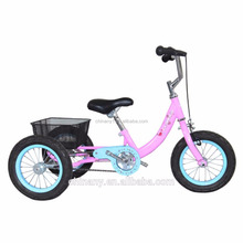 Fashionable child tricycle/baby bike/kid bicycle/12 inch three wheel bike with basket for girls GW7021