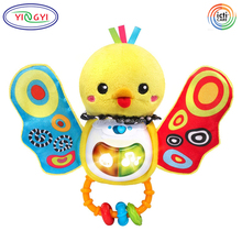 F313 Yellow Duck Baby Activity Rattle Stuffed Washable Plush Talking Animal Toys