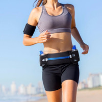 "smart phone Hydration Running Belt With 2 BPA Free Water Bottles holder, 6"" smart phone Pouch Runners Waist Pack"