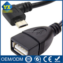 right angle micro USB a male to USB 2.0 A Female OTG Cable
