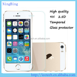 For iphone 5s,high Quality 9H 2.5D tempered glass screen protector for iphone 5s