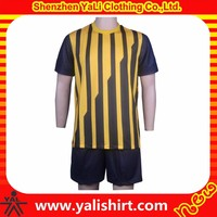 2015 new style hig quality quick dry polyester stripe uniform training best soccer jersey
