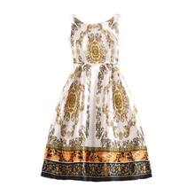 Fashion Vintage Floral Pattern Print Casual Prom A-Line High Quality Gril Dress Lady Vest Dress Vestidos Women Long Dresses