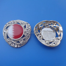 personalized Qatar flag logo metal pin badge/ emblem, Qatar national day crystal lapel pin for garment