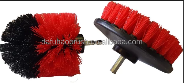 Red drill rotary brush kit/drill scrubbing brush/cleaning brush for drill kit