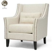 French Style Antique Nail Hand Wooden Leisure Arm Chairs Bedroom furniture leisure fabric chair comfortable lounge