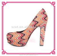 2015 Fashion stripe platform shoes/women thick high heel shoes/pumps