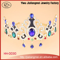 2015 wholesale hair jewelry blue crystal gold alloy fashion tiaras for men