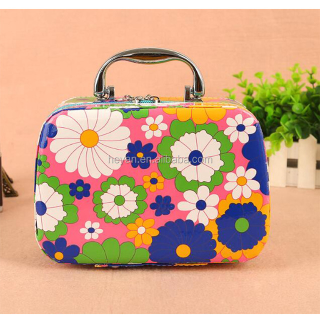 Hot Saling Flower Printed PU leather Cosmetic Bag Case With Handle