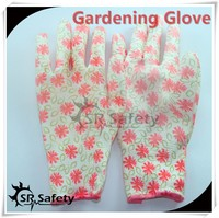 SRSAFETY 13 gauge knitted liner coated pu gloves with best quality and cheap price , flower print