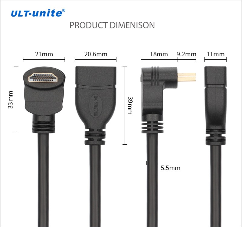 Right Angle 90 Degree HDMI Male to Female Extension Cable