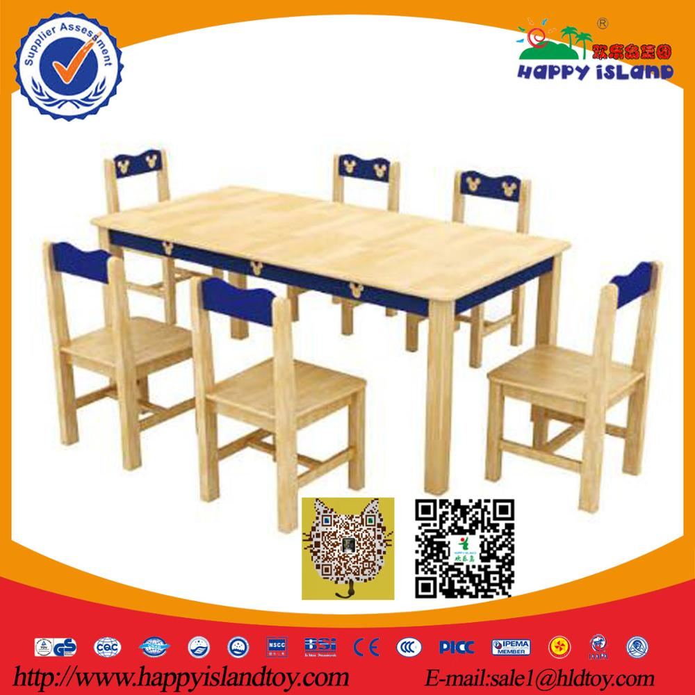 Top-end Wooden Double Student Desk And Chair,School Furniture/classroom Wood Kids Table Chair Set