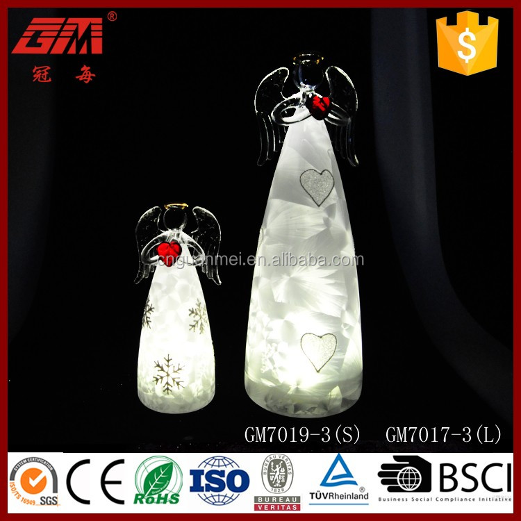 European popular LED glass angel arts with hand red heart