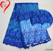Latest royal blue tulle lace fabric net lace with embroidered flower african beaded lace for women dresses TCN326