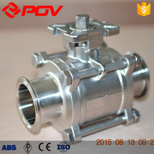 Wafer type sanitary no retention 3pc pneumatic actuator ball valve