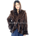 CX-G-A-73 2016 New Arrival Mink Fur Knitted Ruffled Jacket