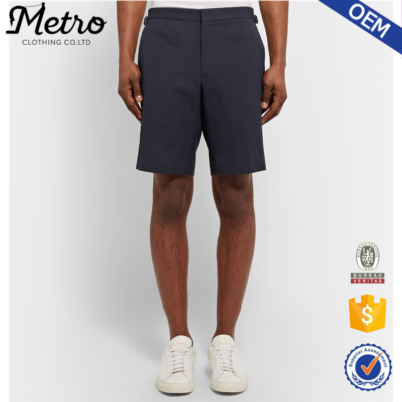 Factory Wholesale Midnight-Blue Stretch-Cotton Seersucker Shorts With Side Adjuster