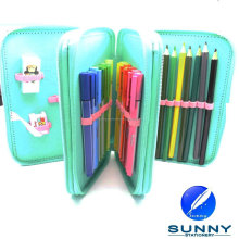 2015 hot sale zip pencil case stationery set , third tier pencil case , school bag stationery set