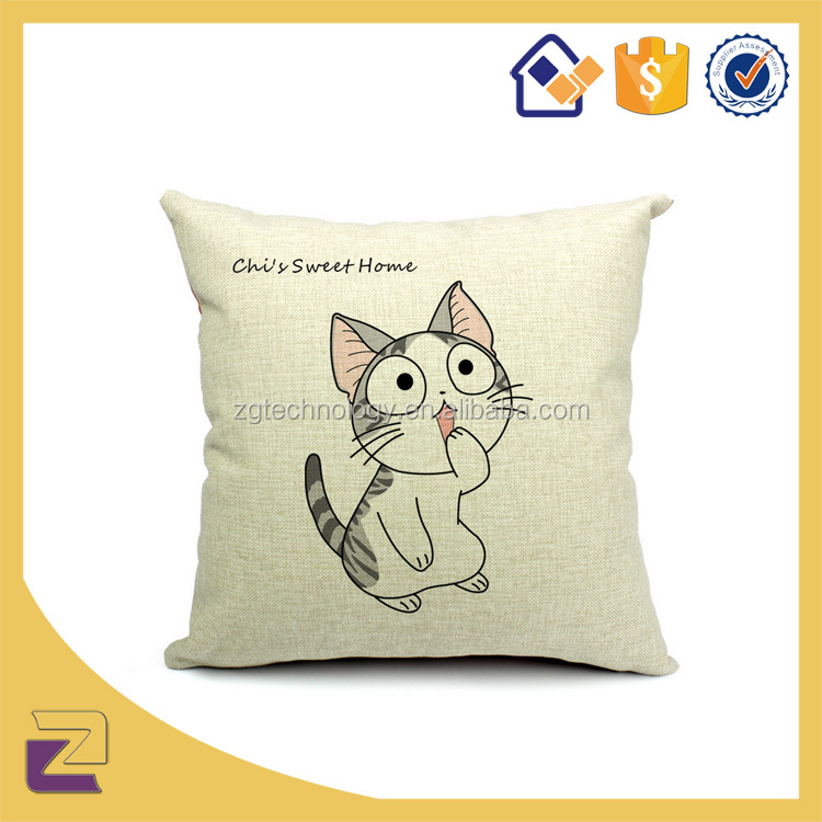 Decorative Sofa Vintage Retro Linen Cotton Canvas Pillow Case Custom Thermal Printing Cushion Cover Throw Elegant