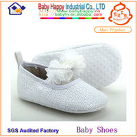 MOQ 24 sequin plain white baby christening shoes