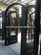 Safety Wrought iron entry doors interior hemlock doors made in China factory
