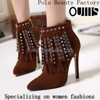 2016 sexy ankle boots ladies boots with tassel high heel boots PY4027