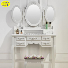 Modern Wooden Dressing Table Design With Full-length Mirror and Stool