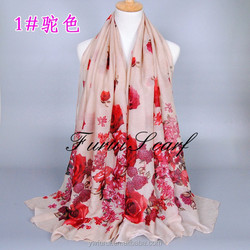 Fashion Women Floral Viscose Hijab Printed Scarf Long Shawl Stole Head Scarf Wraps Muslim Ladies Headband