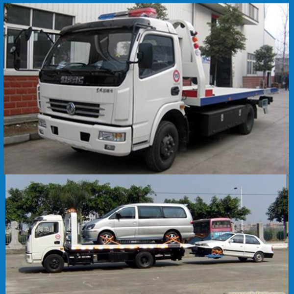 Good performance Dongfeng Wrecker Tow truck 6 ton Emergency Towing flatbed Truck Recovery Truck Bed Side tow 2 cars together