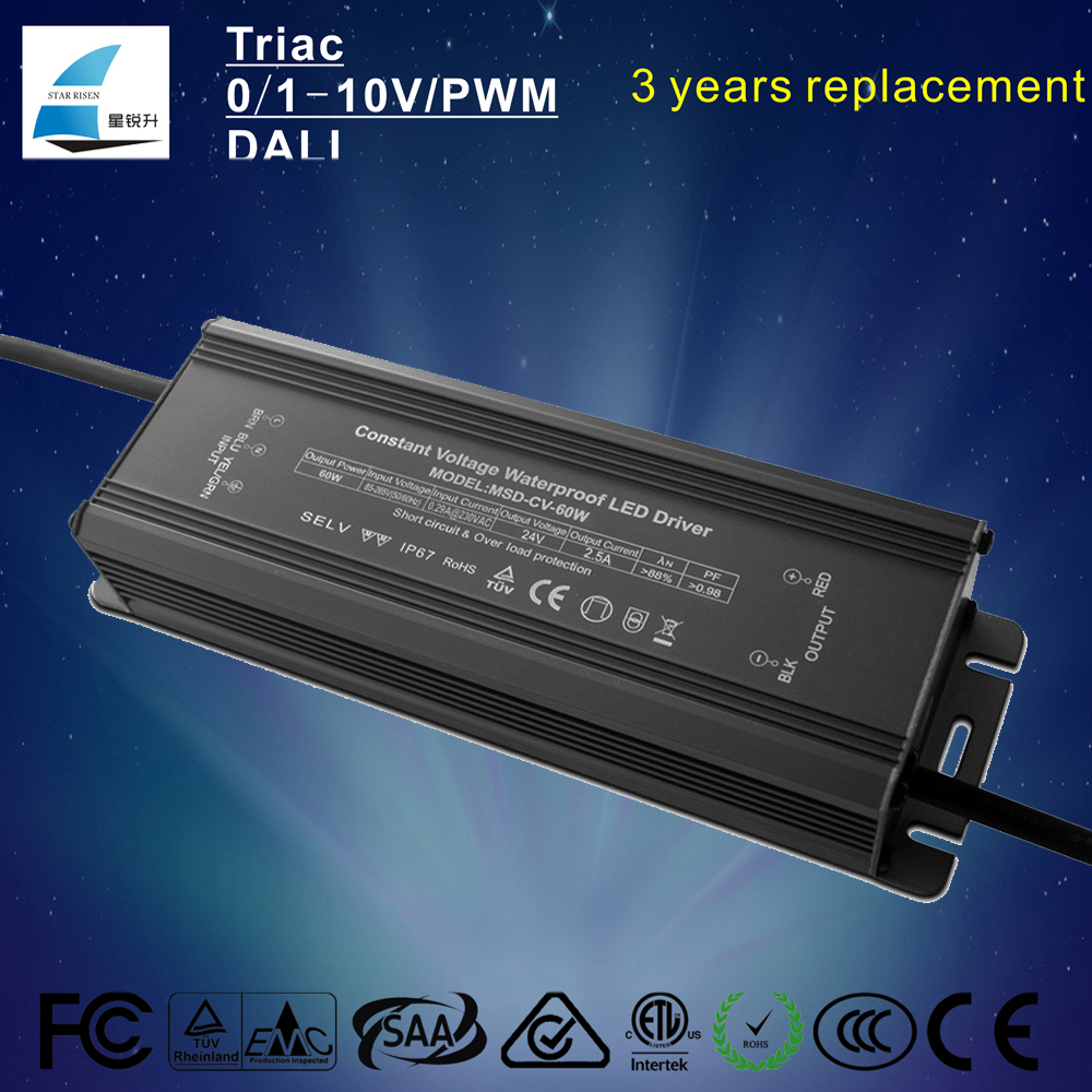 IP67 Constant voltage 12V 24V 60W waterproof led driver PF>0.98 Eff 88% led power supply with high PFC converter
