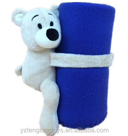 2 in 1 stuffed animal bear holding blanket, cute plush animal blankets for kids