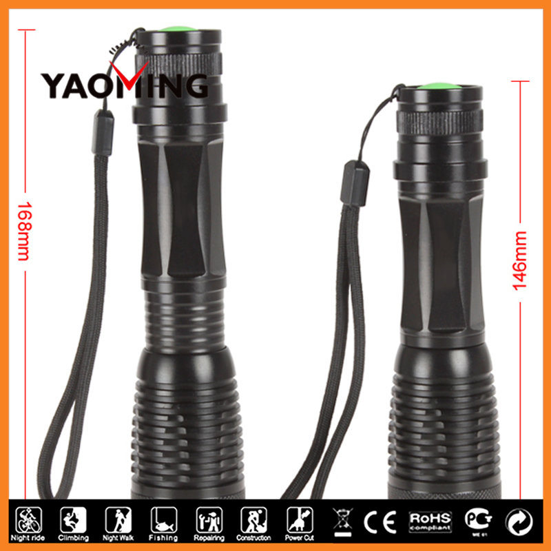 YM-T6Q-1 Wide Angle long focus super bright 200w led flashlight with baton for tactical