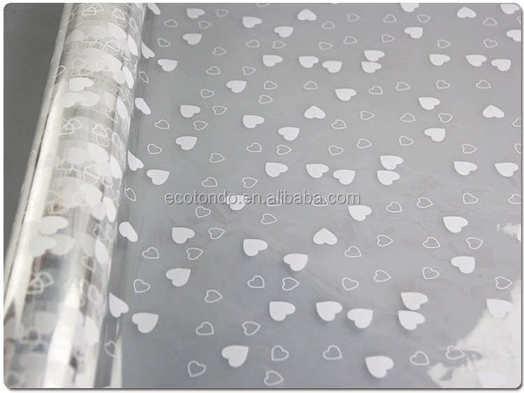 Heart design white color transparent cellophane paper rolls protective plastic film