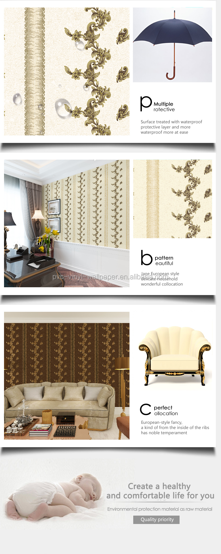 Italian wallpaper waterproof wall home Decor