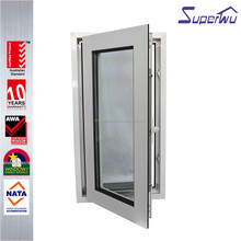 Super quality aluminum casement window with german brand hardware and low e glass for commercial house