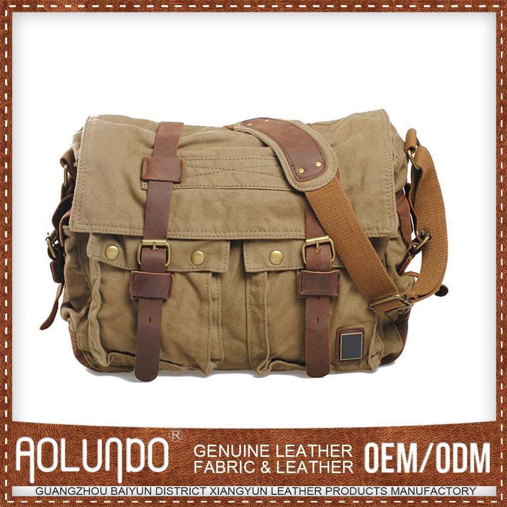 Slim Vintage Canvas Laptop Messenger Bag for Men