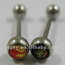 surgical steel epoxy logo tongue barbell body piercing jewelry