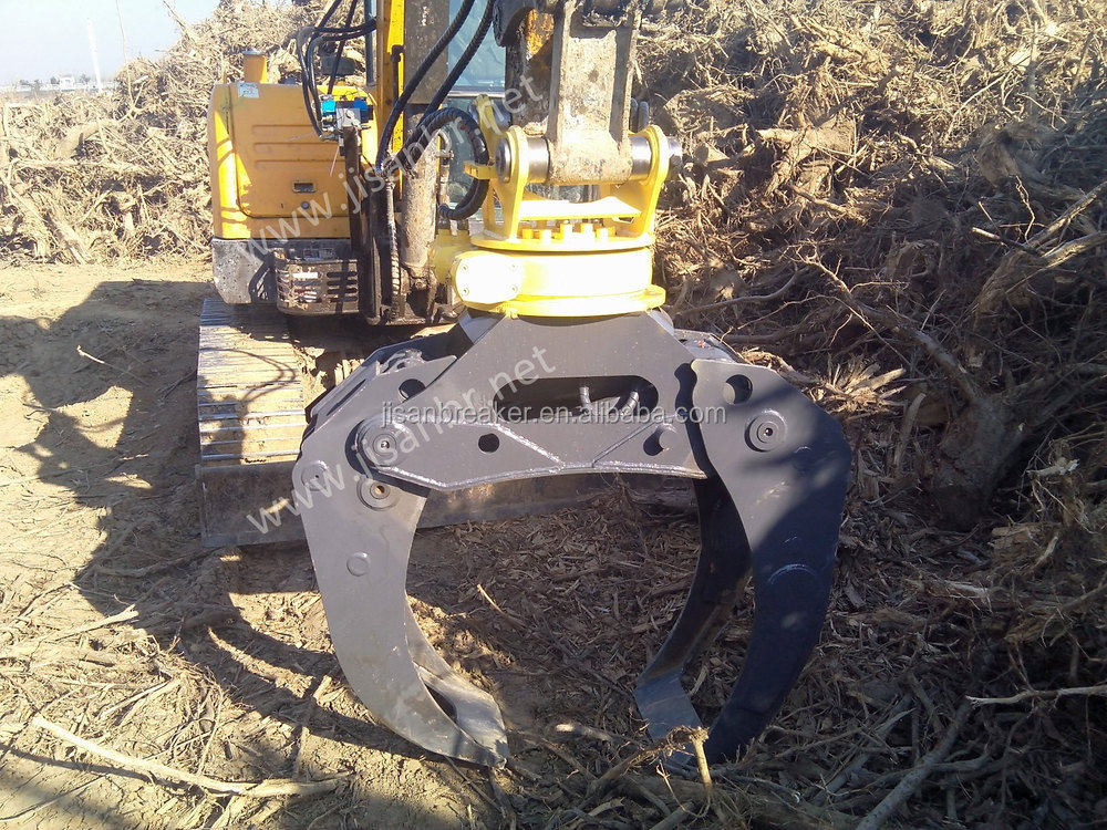 excavator hydraulic grapple with single cylinder light weight