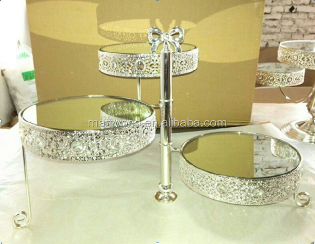 2017 Hot Silver crystal metal cake stand wedding crystal cake stands birthday cake stand party cake stand(cake-005)