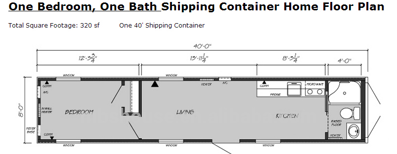 One Bedroom One Bathroom 40ft Container House Floor Plan