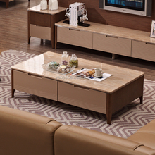 marble coffee table solid wood base #A278#