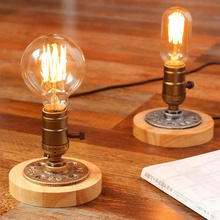 Table Lamps Vintage American Country Retro Style Desktop Decoration Solid Wood Aluminum Material E27 Base Lamp Holder