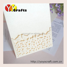 Customized unique pearl paper lace laser cut handmade lace wedding invitations