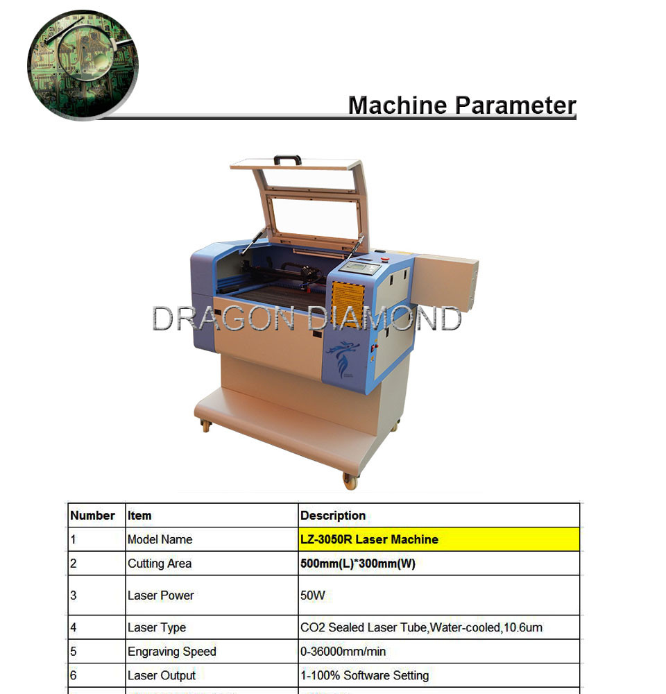 laser cutter for stamp/wood/acrylic LZ-3050/laser engraving machine price guangzhou