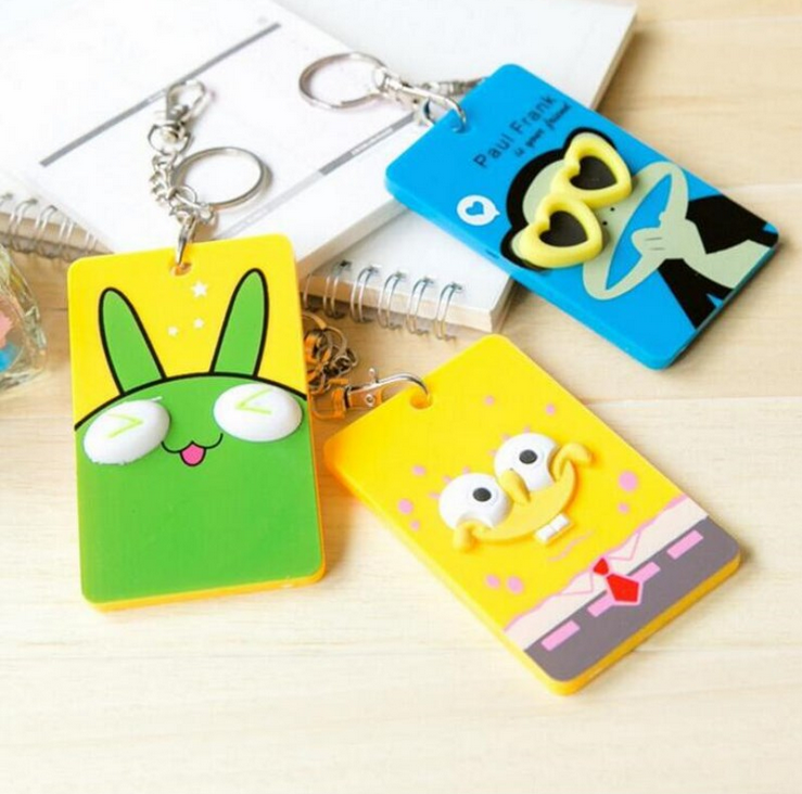 New Custom bulk embossed cartoon animal shape business card cover silicone passport case bus ID card holder with lanyard rope