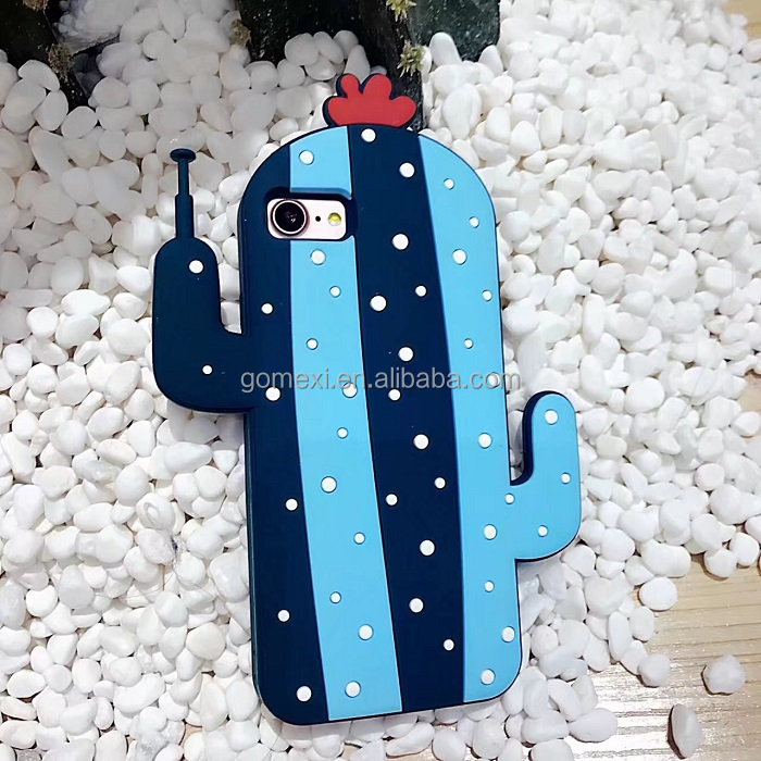 Silicone Designs Robot Cactus Rubber Cellphone Case For iPhone 6s 6Plus 7 7Plus
