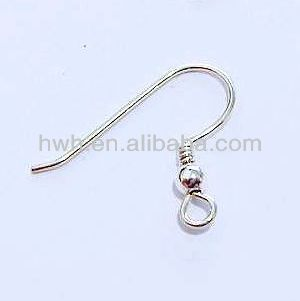 H126/S-R Solid Silver Material Ear Hook with Ball, French Hook Wire