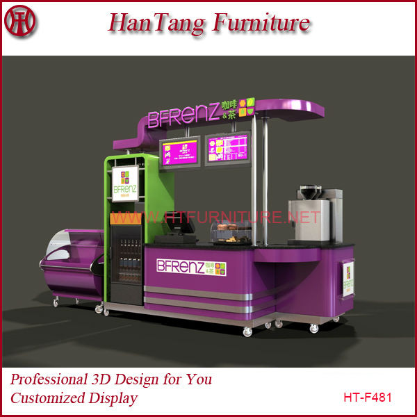 Customize for stainless steel wooden mobile bubble tea cart with strong wheels